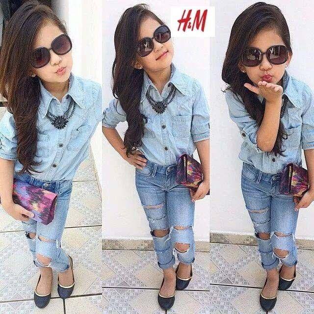 2Pcs Hot Sale Baby Girls Dress Blue Shirt + Denim Pants Set