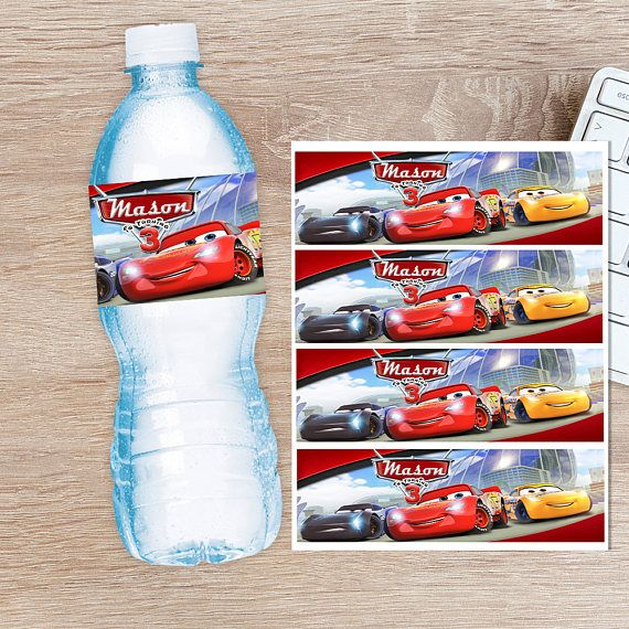 ON SALE 30% Cars Water Bottle Label Disney Cars Water Bottle | Tyler ...