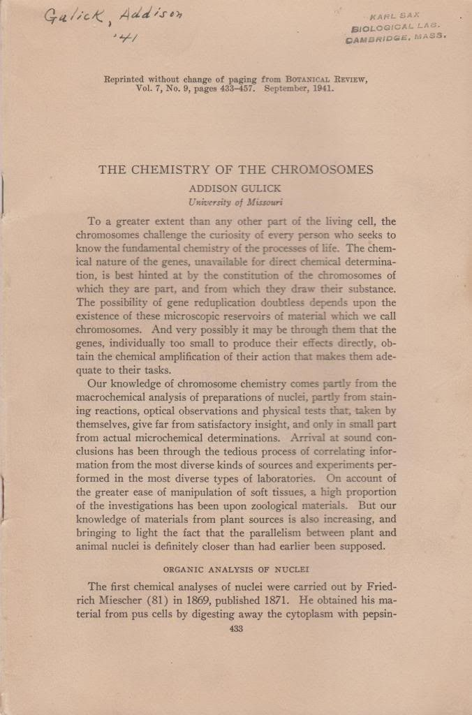 The Chemistry of the Chromosomes