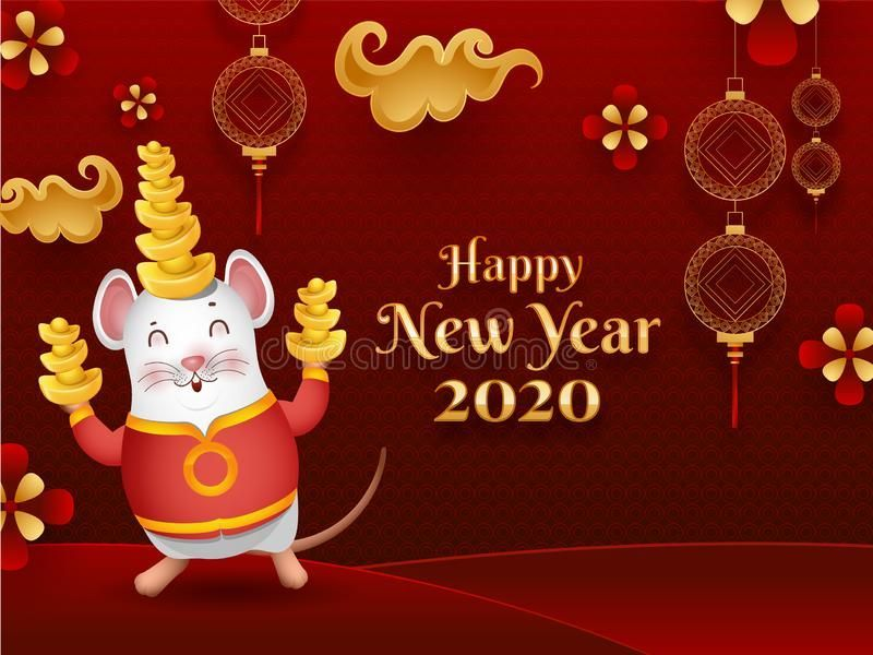 Happy Chinese New Year 2020 celebration greeting card