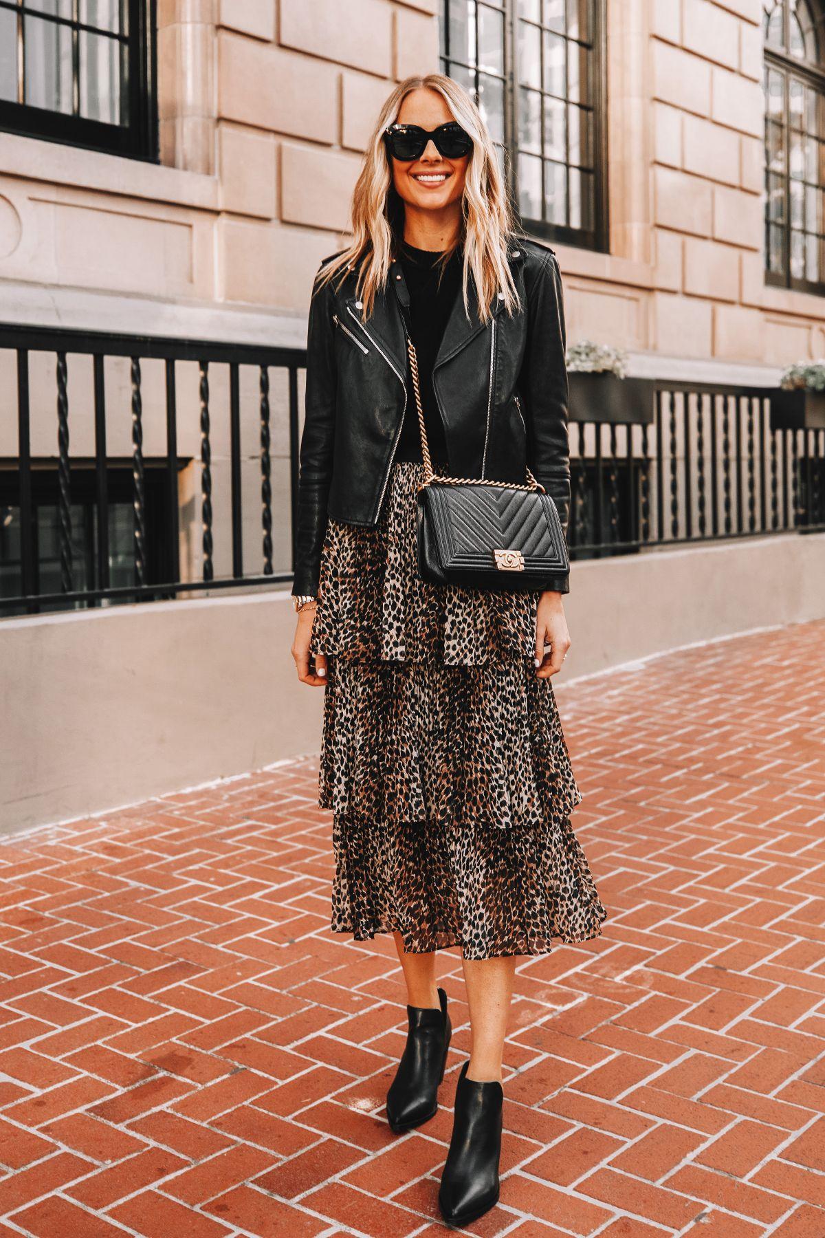 Fashion Jackson Wearing Black Leather Jacket Black Sweater Topshop Leopard Midi Skirt Black Bo Fashion Jackson Black Leather Jacket Outfit Leather Jacket Dress [ 1800 x 1200 Pixel ]