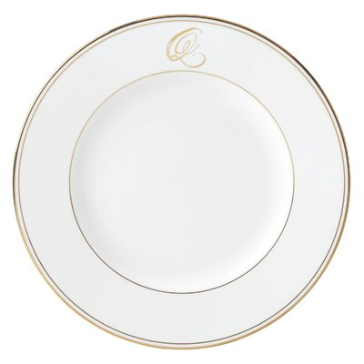 "Lenox Federal Monogram Script 10.75"" Dinner Plate Color: Gold, Letter: Q"