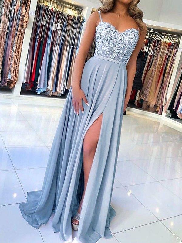 Photo of Blue Lace Spaghetti Straps Backless V-Neck Slit Elegant Maxi Dress …