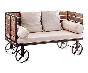 Divano Ferro ~ Divanetto con rotelle in ferro e legno oliver cm