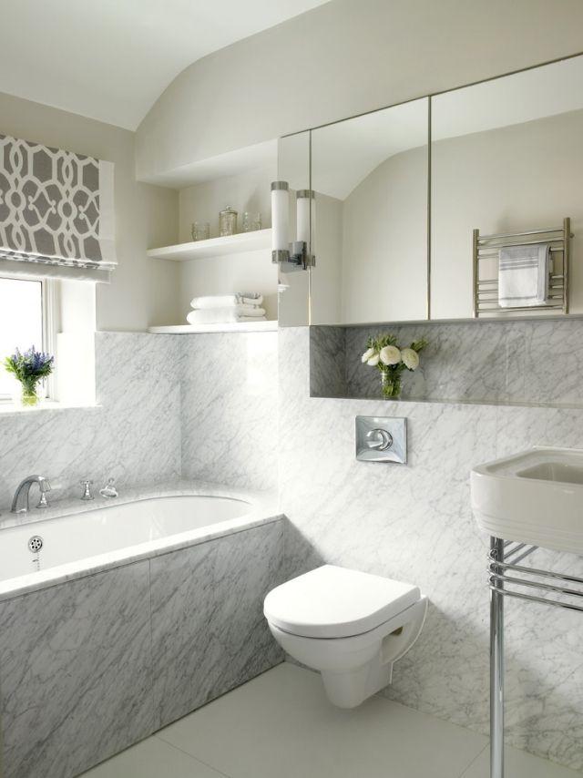Ideen Kleine Bader Badewanne Fenster Marmor Fliesen  Spiegelschrank Regale Wandnische