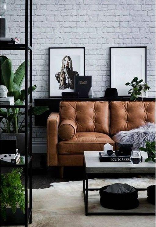 perfect colour leather sofa loves the black metal rack loves the rh pinterest com