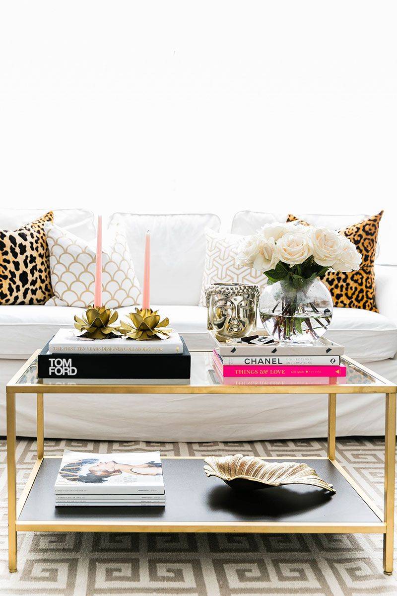silver glass living room furniture%0A Love the glass and gold coffee table but for end table