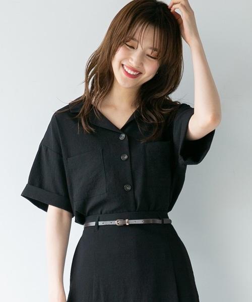 レディース 夏のシャツコーデ48選 大人女子におすすめのきれいめな着こなし術 folk ファッションアイデア 黒 シャツ コーデ レディース ファッション