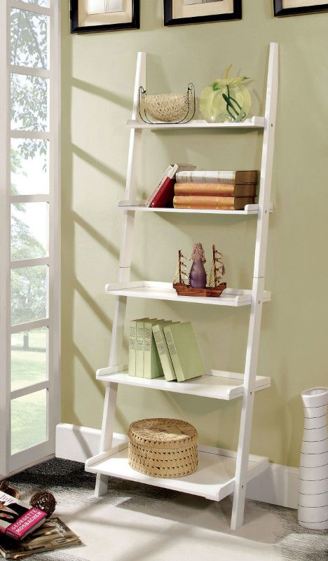 Furniture Of America CM AC6213WH Sion White Finish Wood 5 Tier Corner Leaning Bookcase Shelf