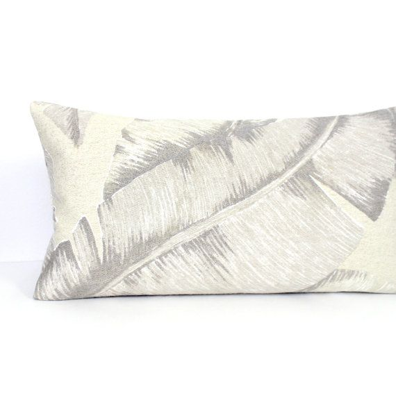 Lumbar Pillow Cover Grey Beige Tropical Leaf Decorative Accent Throw Classy 12 X 21 Pillow Insert