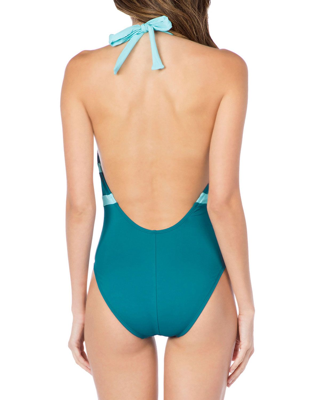 81bf83f19aa La Blanca Modern Low-Back Halter One-Piece Swimsuit | bathing suits ...