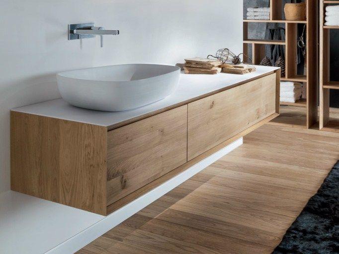 Mobile lavabo sospeso in legno con cassetti Collezione Shape Evo by