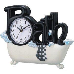 Great bathroom clock. White bathroom accessories