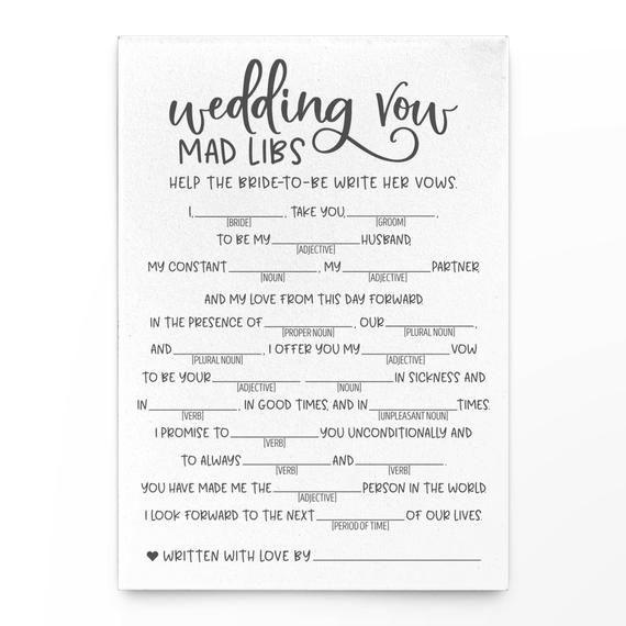 Grey Wedding Vow Mad Libs . Grey Bridal Mad Libs#bridal #