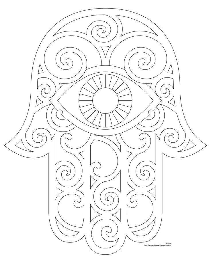 Hamsa Hand Coloring Page Printable | school stuff | Pinterest ...