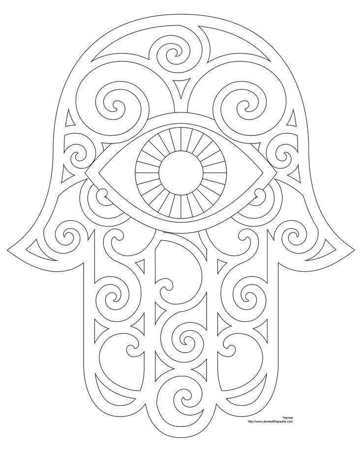Hamsa Hand Coloring Page Printable