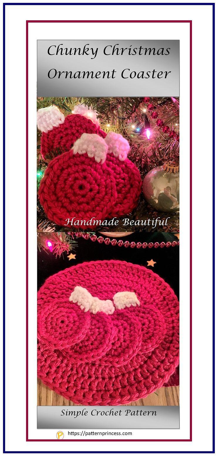 Chunky Christmas Ornament Coaster | Beginner crochet, Coasters and ...