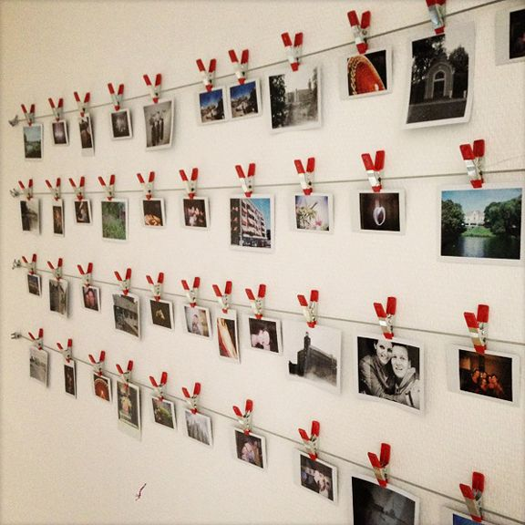 make your own instant photo wall diy craft. Black Bedroom Furniture Sets. Home Design Ideas