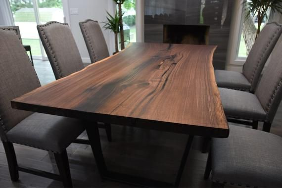 Single Slab Black Walnut Live Edge Dining Table In 2019