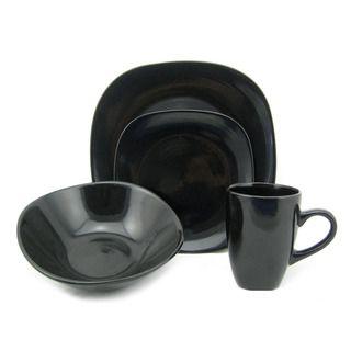 Casual Dinnerware For Less  sc 1 st  Pinterest & Lorren Home Trend \u0027Black\u0027 16-piece Square Stoneware Dinnerware Set ...