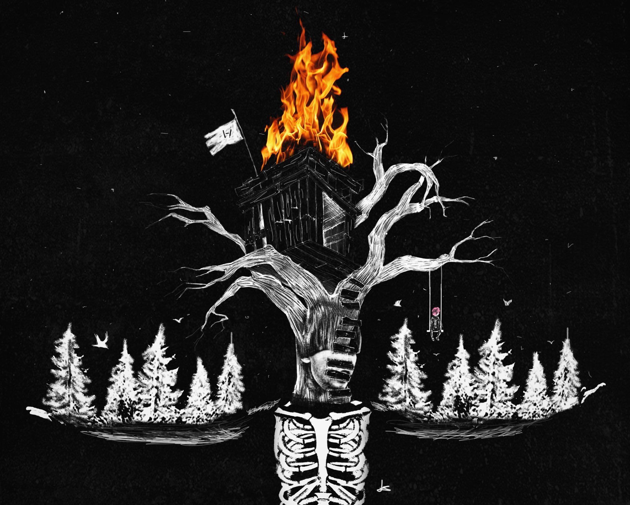 My Treehouse Is On Fire And For Some Reason I Smell Gas On My Hands Twenty One Pilots Art Pilots Art Twenty One Pilots