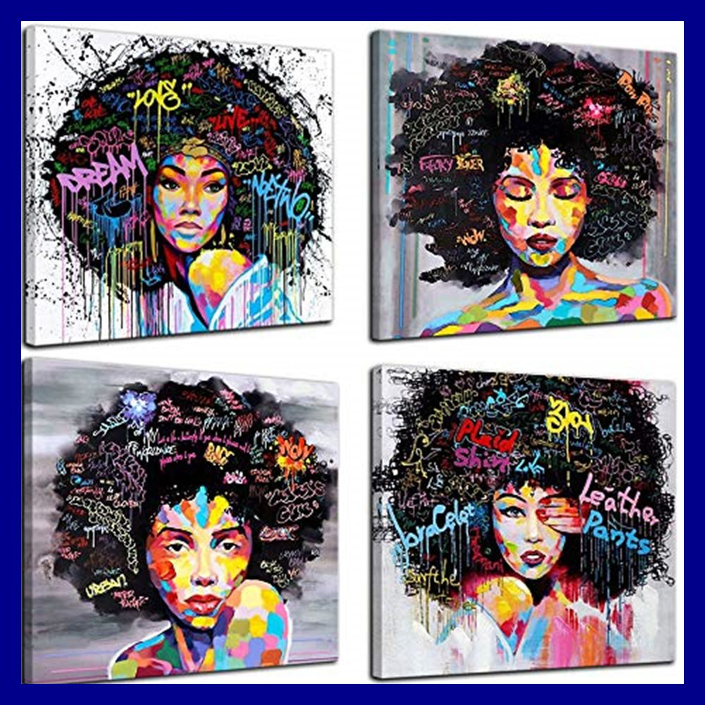 4 Panels African American Canvas Bedroom Home Decor Decal Wal 12 X12 Decal Wall Art Modern Wall Art Canvas Wall Art Canvas Painting