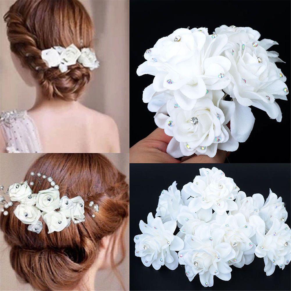 6pcs Chic Women Flower Hair Clip Bridal Wedding Prom Party Barrette