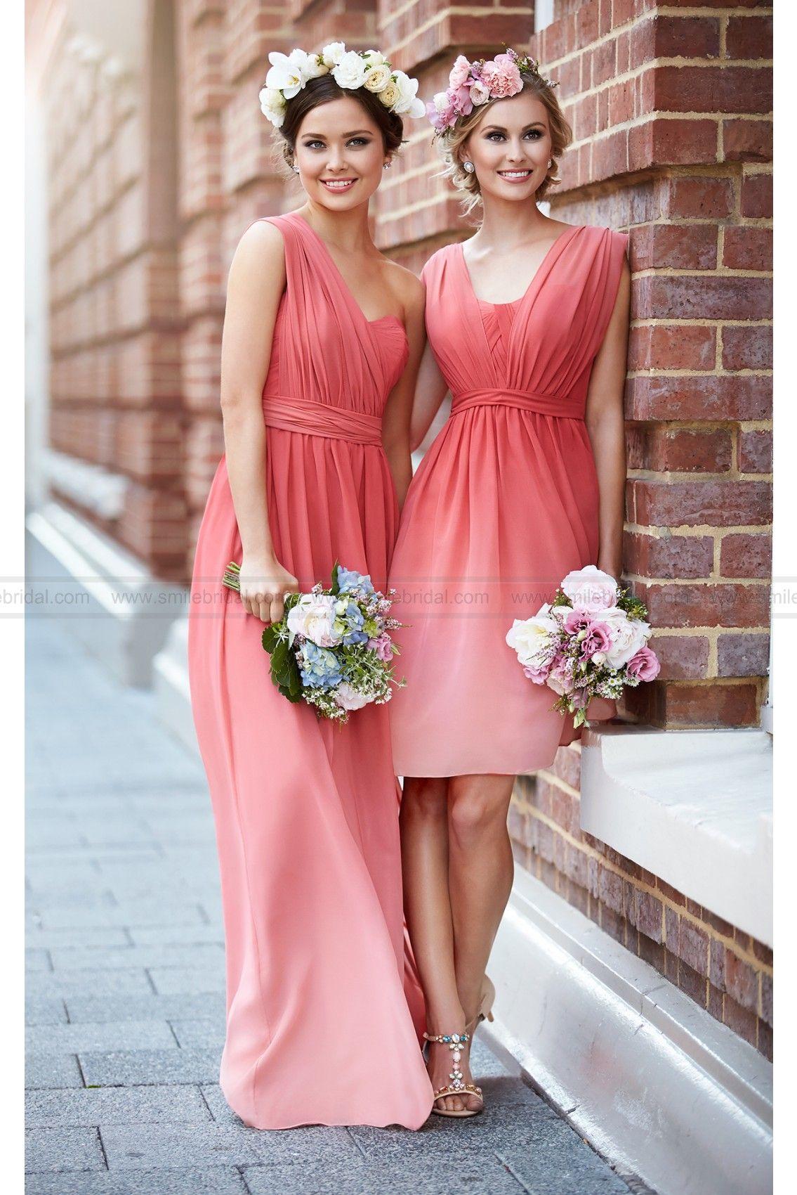 Sorella vita coral ombre bridesmaid dress style om bridesmaid
