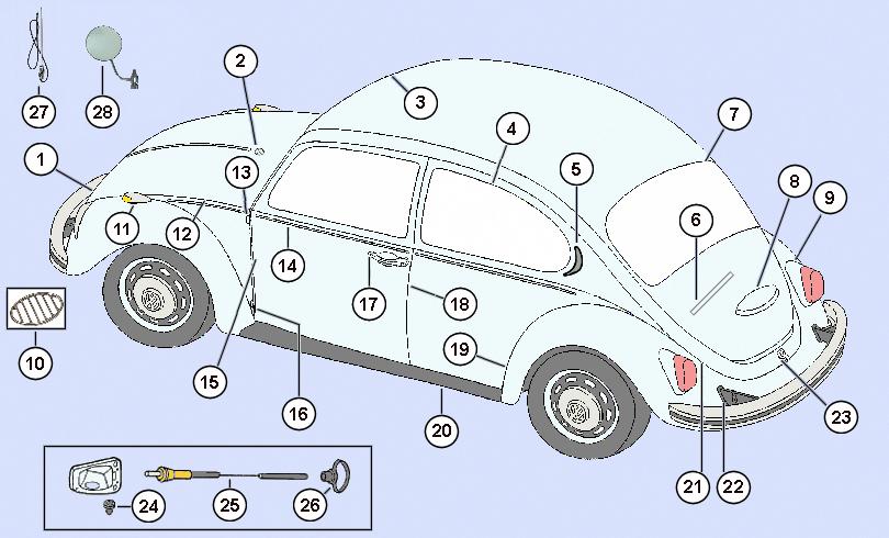 VW Bug VW Beetle Alternator Gen Backing Plate Black 3 Pieces