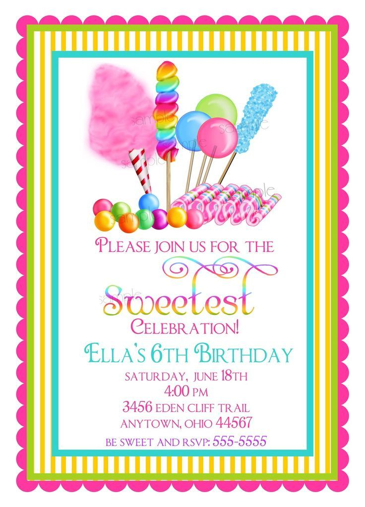 Candy Circus invitations, Sweet Shop Birthday party invitations ...