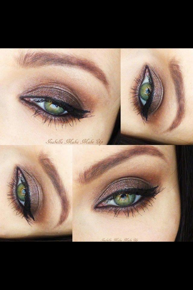 Fab makeup to set off green eyes. Brown smokey