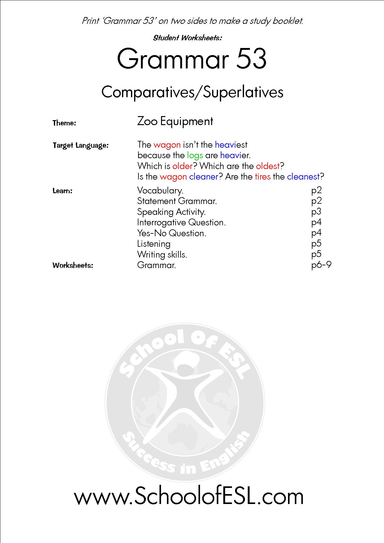 Grammar 53 Comparatives Superlatives Resources For