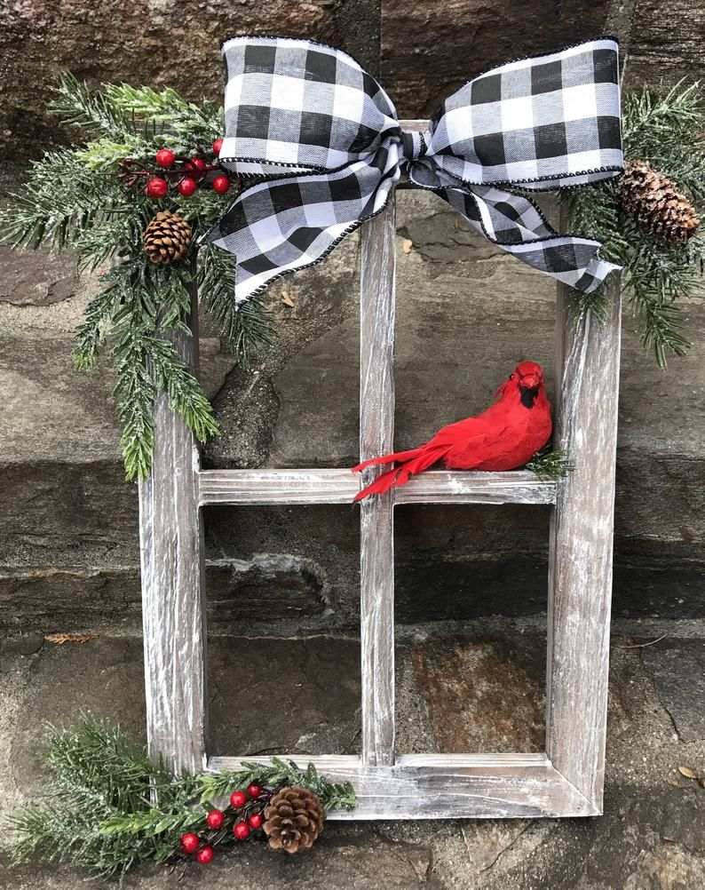 Farmhouse Christmas Decor, Christmas Decorated Window Pane, Winter Window Pane Decor, Christmas Window Frame,Buffalo Check, Buffalo Plaid #winterdecor