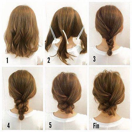 Easy Updos For Short Hair Updo Messy Hair Short Braid Hairtyle Hair Shoulder Length Hairtyles Hair Tutorials For Medium Hair Hair Styles Short Hair Updo