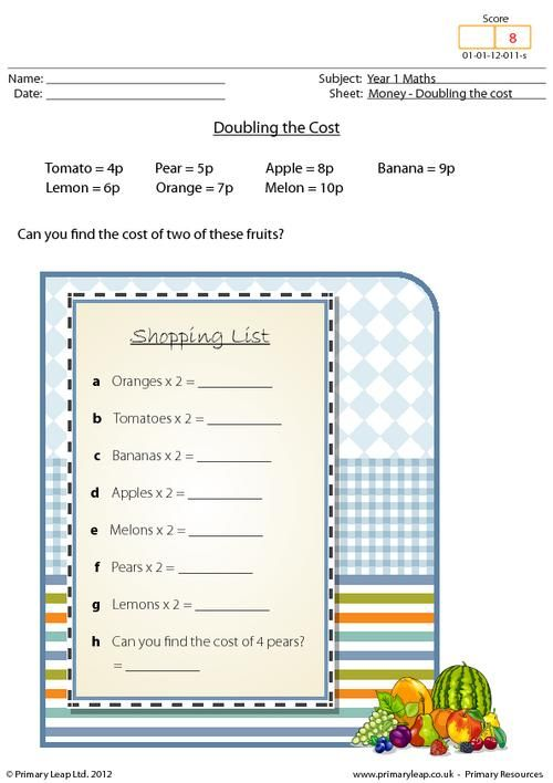 PrimaryLeap.co.uk - Money - Doubling the cost Worksheet   Maths ...