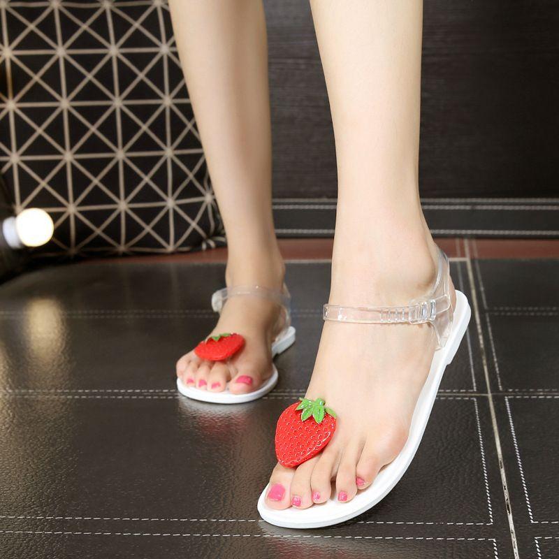 c495cc9a427f Hot Sale Women Sandals Fruit Strawberry Flip Flops Jelly Sandals Shoes  Girls Summer Flat Beach Leisure Sandals