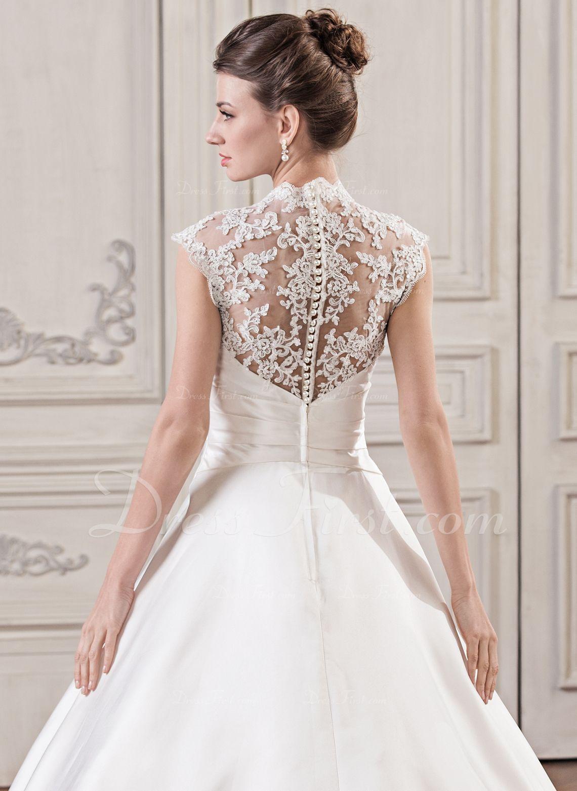 BallGown Vneck Court Train Satin Lace Wedding Dress With