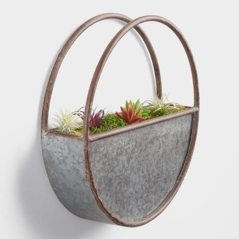 Small Oval Galvanized Metal Wall Planter By World Market Metal Wall Planters Galvanized Wall Planter Plant Wall Decor