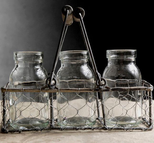 Three Glass Bottles with Chicken Wire Caddy