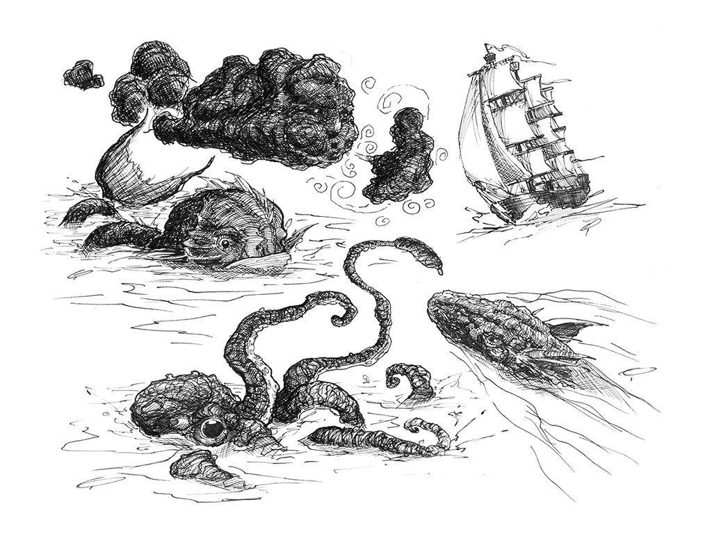 Sea Monster Sketches Monster Sketch Sea Monsters Sea Monsters Drawing
