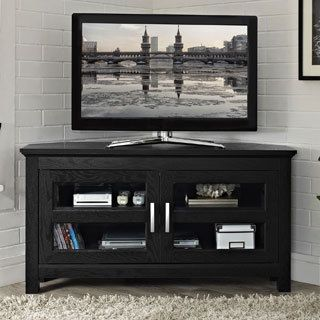 Shop For Black Wood 44 Inch Corner Tv Stand Get Free Shipping At