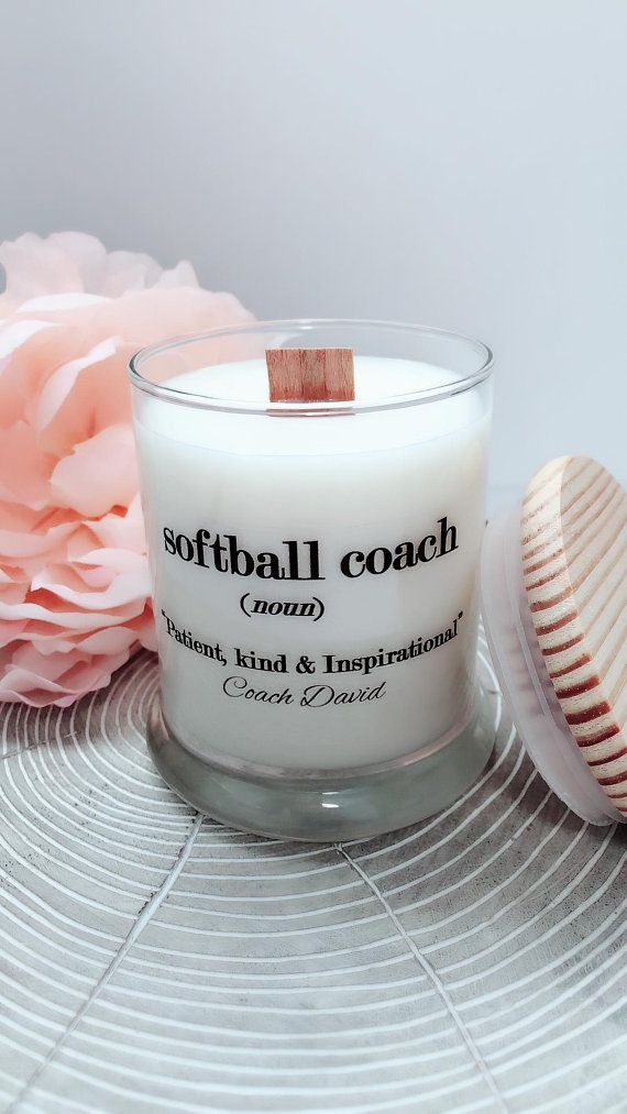 NEW Softball Coach Candle with Wooden Lid~8 oz Woodwick ...