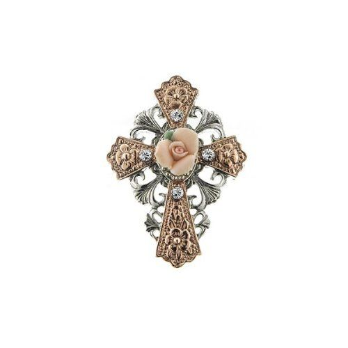1928 Jewelry Rose Gold and Silver Tone Cross with Porcelain Rose