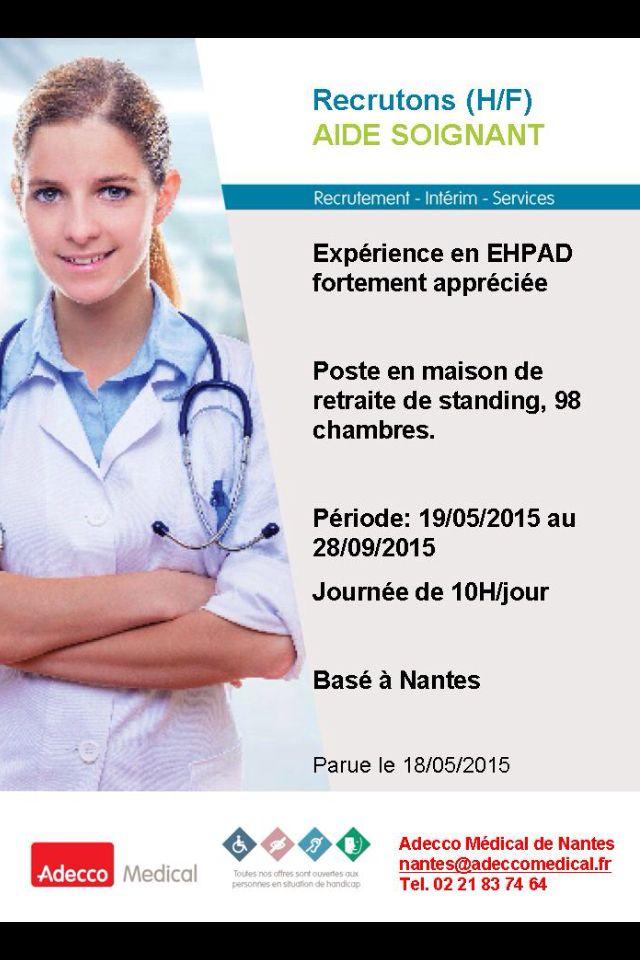Recrutement #nantes -aide soignant | Aide soignante ...