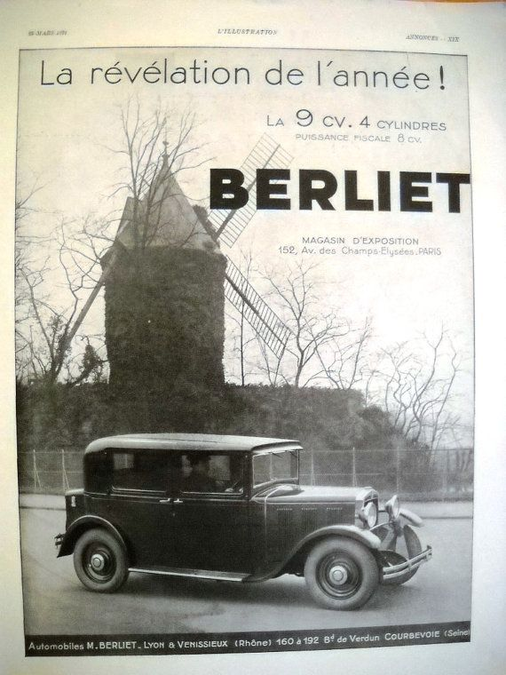 Berliet Automobile Ad French Classic Car Original By Oldmag Car Ads Classic Cars Vintage Advertisements