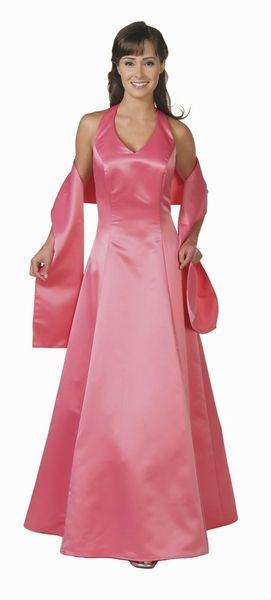 Plus Size Coral Bridesmaid Dress Poly Satin Long Formal Halter