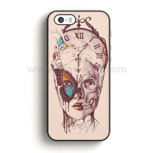 dabb448e7ad8f Illustration Girl Clock And Butterflies iPhone SE Case | Aneend.com ...