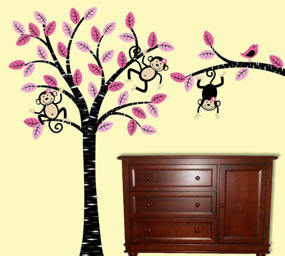 Girl Monkey  Tree Wall Decal Children Nursery by onehipstickerchic, $114.95