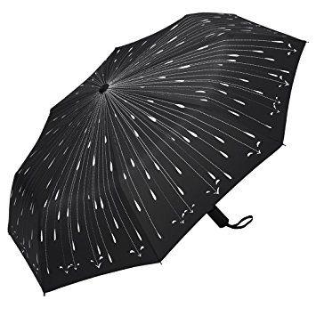 Plemo Windproof Travel Portable Automatic Umbrellas Black With Raindrops Pattern Folding Umbrella With Anti Slip Handle 37 Paraguas Lluvia Joyas Para Cabello