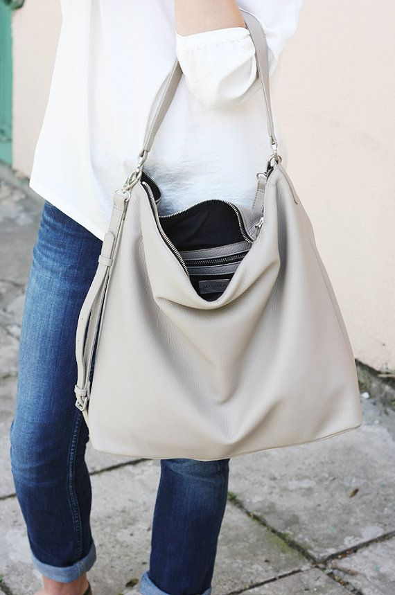 Beige Leather Hobo Bag Large Shoulder Bag NELA by MISHKAbags ...